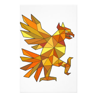 Papelaria Cuauhtli Glifo Eagle que luta o baixo polígono da