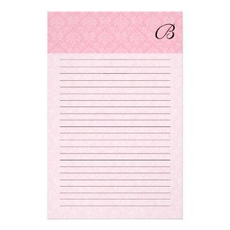 Papelaria Damasco cor-de-rosa com monograma e linhas pretos