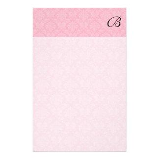 Papelaria Damasco cor-de-rosa simples e clássico com
