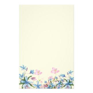 Papelaria Decoração cor-de-rosa e azul da aguarela da flor