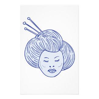 Papelaria Desenho da cabeça da menina de gueixa