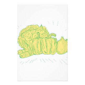 Papelaria Desenho da cebola do capsicum de Brocolli