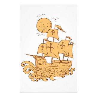 Papelaria Desenho da lua do navio de navigação de Caravel