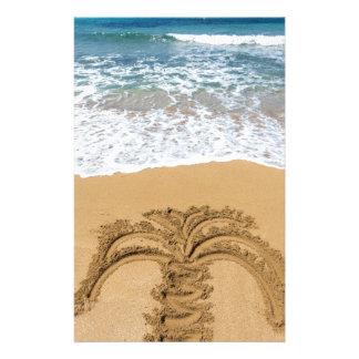 Papelaria Desenho da palmeira no Sandy Beach