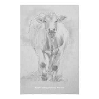 Papelaria Desenho de lápis de uma vaca que anda para você