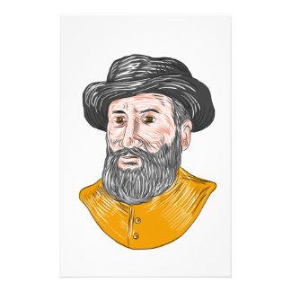 Papelaria Desenho do busto de Fernão de Magalhães