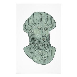 Papelaria Desenho do busto do explorador de Vasco da Gama