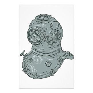 Papelaria Desenho do capacete do mergulho da velha escola