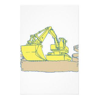 Papelaria Desenho do rolo da fita da máquina escavadora do