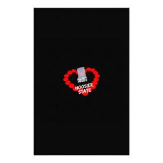 Papelaria Design do coração da vela para o estado de Indiana