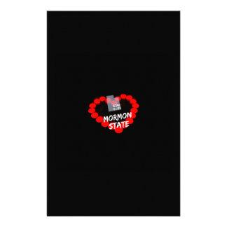 Papelaria Design do coração da vela para o estado de Utá