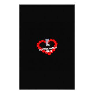 Papelaria Design do coração da vela para o estado de Vermont