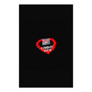 Papelaria Design do coração da vela para o estado de Wyoming