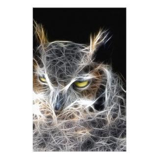Papelaria design do fractal da coruja