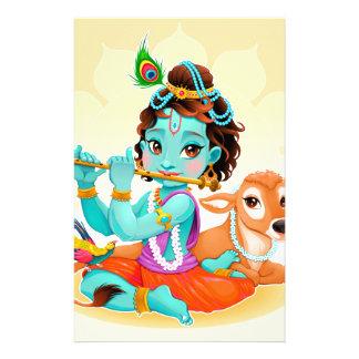 Papelaria Deus indiano de Krishna que joga a ilustração da