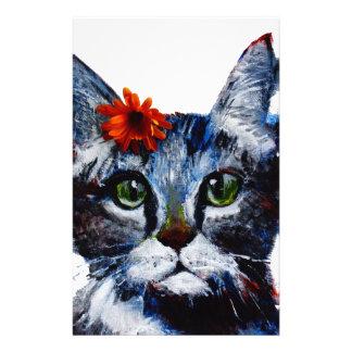 Papelaria Doce de fruta, o gato bonito que veste uma flor