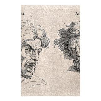 Papelaria Dois desenhos das caras irritadas