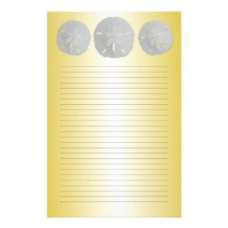 Papelaria Dólares de areia no papel de carta alinhado ouro