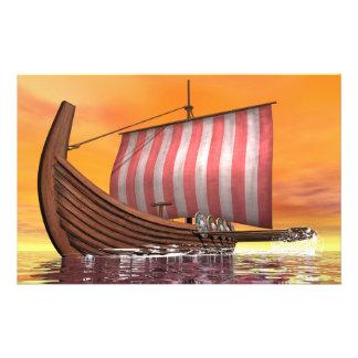 Papelaria Drakkar ou navio de viquingue - 3D rendem