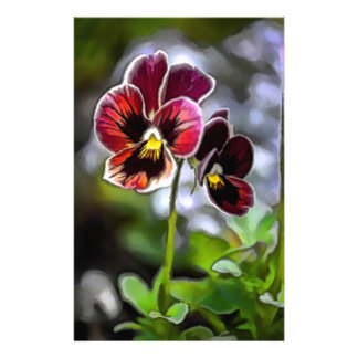 Papelaria Duo da flor do amor perfeito do Bordéus