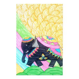 Papelaria Elefante pequeno bonito colorido do madhubani