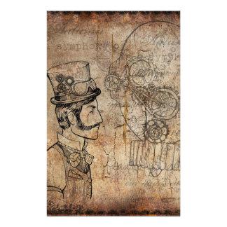 Papelaria Engrenagens retros do cavalheiro de Steampunk