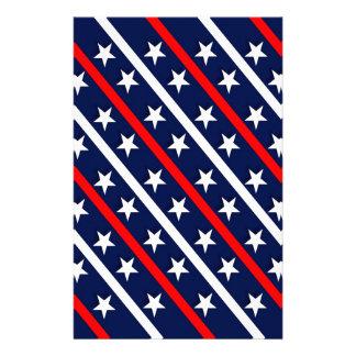 Papelaria estrelas azuis brancas vermelhas patrióticas
