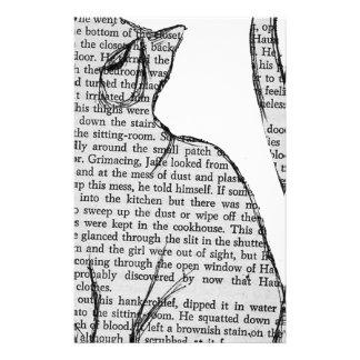 Papelaria etiqueta do livro de leitura do gato