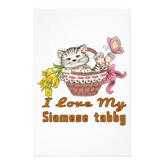 Papelaria Eu amo meu gato malhado Siamese