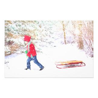 Papelaria Feriados do Natal do menino do trenó do inverno da