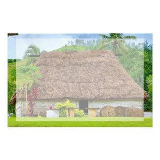 Papelaria Fijian tradicional Bure, vila de Navala, Fiji