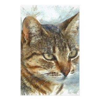 Papelaria Fim impressionante do gato de gato malhado acima