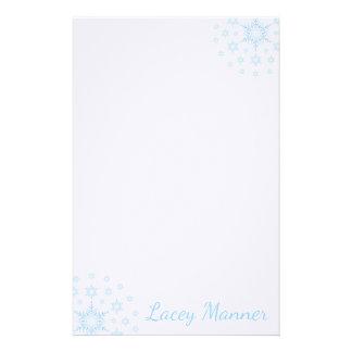 Papelaria Flocos de neve gelados azuis estacionários simples