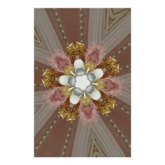 Papelaria Flor branca do ouro cor-de-rosa antigo elegante