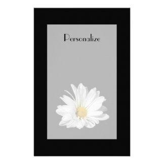 Papelaria Flor elegante da margarida branca com nome