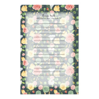 Papelaria Floral amarelo cor-de-rosa personalizado em verde