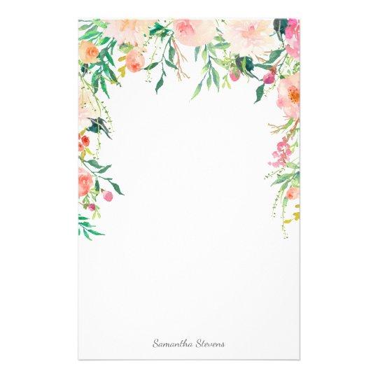 Papelaria Floral cor-de-rosa bonito com seu nome