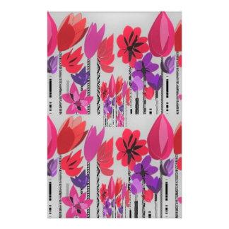 Papelaria Flores altas no vermelho, no rosa e no roxo