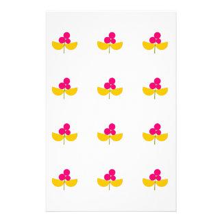 Papelaria Flores amarelas e cor-de-rosa do vintage