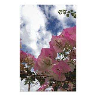 Papelaria flores cor-de-rosa contra um céu azul