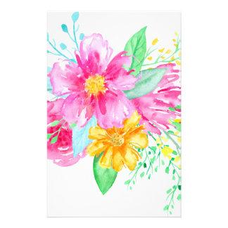 Papelaria Flores cor-de-rosa da aguarela