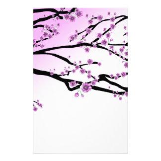 Papelaria Flores cor-de-rosa da flor de cerejeira