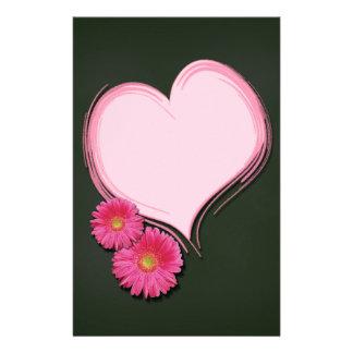 Papelaria Flores cor-de-rosa do coração - cabeçalho dos
