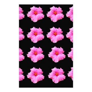 Papelaria Flores cor-de-rosa do hibiscus no preto, _