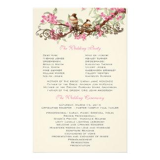 Papelaria Flores cor-de-rosa dos pássaros do vintage que