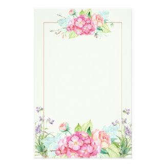 Papelaria Flores Pastel do verão e linha beira cor-de-rosa