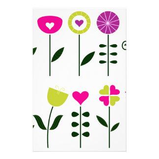 Papelaria Flores populares/preto cor-de-rosa mágico no