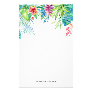 Papelaria Folha tropical do jardim de turquesa