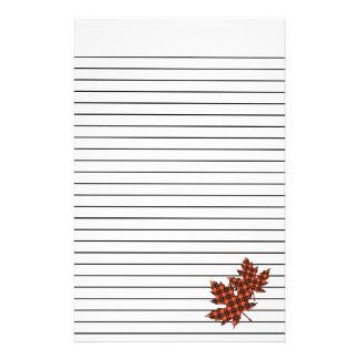Papelaria Folhas de bordo xadrez vermelha no papel de carta