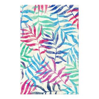 Papelaria Folhas de palmeira tropicais da aguarela